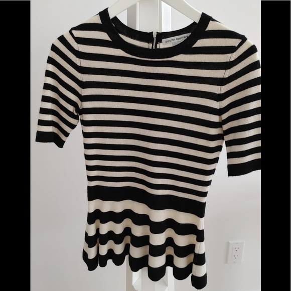 Autumn Cashmere Striped Black and White Peplum XS